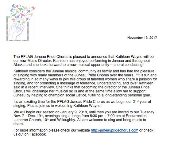 announcement on Kathleen